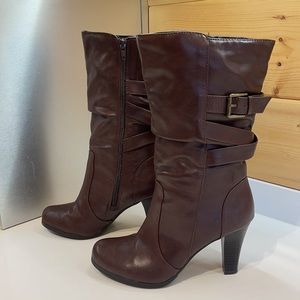 Rich Brown Faux Leather Mid Calf Boots